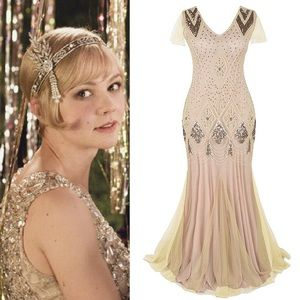 Dresses & Skirts - 🥂Champagne Gatsby Wedding Sequin Gown,6-16